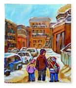 Montreal Paintings Winter Walk Past The Old School Snowy Day City Scene Carole Spandau Fleece Blanket