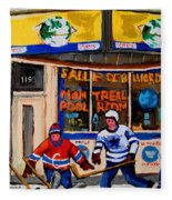 Montreal Pool Room City Scene With Hockey Fleece Blanket