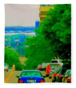 Montreal Skyline Decarie View Of Clock Tower Victoria Pier And Super Hospital Site Carole Spandau Fleece Blanket