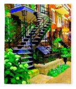 Montreal Staircases Verdun Stairs Duplex Flower Gardens Summer City Scenes Carole Spandau Fleece Blanket