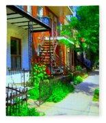 Montreal Stairs Shady Streets Winding Staircases In Balconville Art Of Verdun Scenes Carole Spandau Fleece Blanket