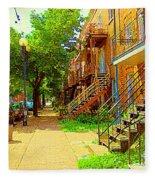 Montreal Stairs Winding Staircases And Sunny Tree Lined Sidewalks Verdun Scenes Carole Spandau  Fleece Blanket