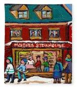 Montreal Winter Hockey At Moishes Fleece Blanket