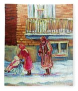 Montreal Winter Scenes Fleece Blanket