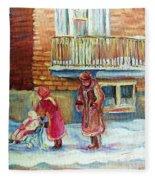 Montreal Winter Scenes Fleece Blanket