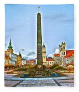 Monument In B.bystrica Fleece Blanket