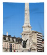 Monument On Restauradores Square In Lisbon Fleece Blanket