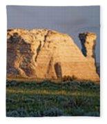 Monument Rocks Panorama Fleece Blanket