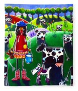 Moo Cow Farm Fleece Blanket