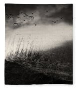 Moody Sunrise With Grasses And Birds Fleece Blanket