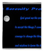 Moon - Serenity Prayer - Blue Fleece Blanket