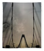 Moon And A Bridge Fleece Blanket