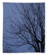 Moon And Bare Tree Fleece Blanket