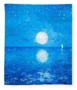 Moon And Stars Fleece Blanket