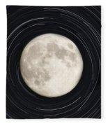 Moon And Startrails Fleece Blanket