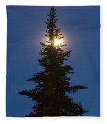 Moon Behind Spruce Fleece Blanket