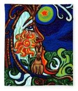 Moon In Tree Fleece Blanket