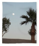 Moon Over Baja Desert Fleece Blanket