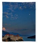 Moon Over Dubrovnik's Walls Fleece Blanket