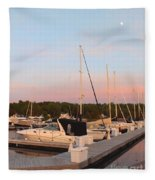 Moon Over Egg Harbor Marina Fleece Blanket