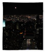 Moon Over New York City Fleece Blanket