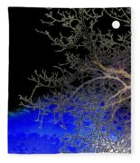 Moon Over Sapphire Pond Fleece Blanket