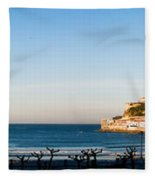Moon Over The Bay Fleece Blanket