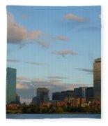 Moon Over The Prudential In Boston Fleece Blanket