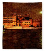 Moon Over Udaipur Painted Version Fleece Blanket