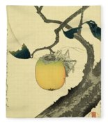 Moon Persimmon And Grasshopper Fleece Blanket
