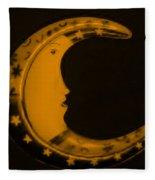 Moon Phase In Orange Fleece Blanket