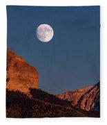 Moon Rise Over Cimarron Mountain Range Fleece Blanket