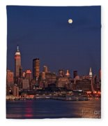 Moon Rise Over Manhattan Fleece Blanket