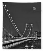 Moon Rise Over The George Washington Bridge Bw Fleece Blanket