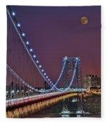 Moon Rise Over The George Washington Bridge Fleece Blanket
