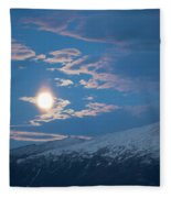Moon Rise Over The Presidential Range Fleece Blanket