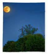 Moon Rising At The Lake House 05/24/13 Oakland County Mi Fleece Blanket