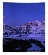 Moon Sets Over Behind The Tetons Panorama Fleece Blanket