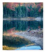 Moon Setting Fall Foliage Reflection Fleece Blanket