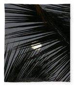 Moon  Through Palm Trees Fleece Blanket