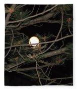 Moon Through Pines Fleece Blanket