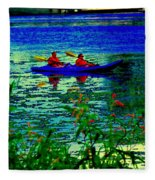 Moonlight Kayak Ride Along The Coastline Of The Lachine Canal Quebec Sea Scenes Carole Spandau Fleece Blanket