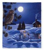 Moonlight Magig-great Horned Owls Fleece Blanket