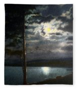 Moonlight On Yellowstone Lake Fleece Blanket