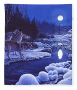 Moonlight Visitors Fleece Blanket
