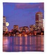 Moonlit Boston On The Charles Fleece Blanket
