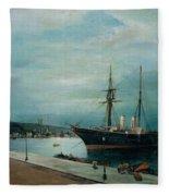 Moonlit Harbour Of Volos Fleece Blanket