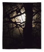 Moonlit Tree In The Forest Fleece Blanket