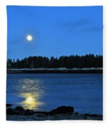 Moonrise Acadia National Park Fleece Blanket
