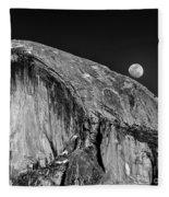 Moonrise Over Half Dome Fleece Blanket